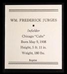 1933 Tattoo Orbit Reprint #37  Billy Jurges  Back Thumbnail