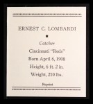 1933 Tattoo Orbit Reprint #41  Ernie Lombardi  Back Thumbnail