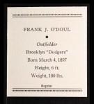 1933 Tattoo Orbit Reprint #48  Lefty O'Doul  Back Thumbnail