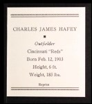 1933 Tattoo Orbit Reprint #27  Chick Hafey  Back Thumbnail