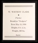 1933 Tattoo Orbit Reprint #11  Watson Clark  Back Thumbnail