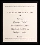 1933 Tattoo Orbit Reprint #51  Charlie Root  Back Thumbnail