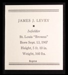 1933 Tattoo Orbit Reprints #40  Jim Levey  Back Thumbnail