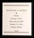1933 Tattoo Orbit Reprint #21  Burleigh Grimes  Back Thumbnail