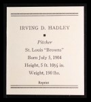 1933 Tattoo Orbit Reprint #26  Bump Hadley  Back Thumbnail