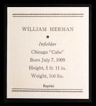 1933 Tattoo Orbit Reprint #33  Billy Herman  Back Thumbnail