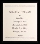 1933 Tattoo Orbit Reprint #33  Billy Herman  Back Thumbnail