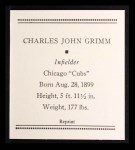 1933 Tattoo Orbit Reprint #22  Charlie Grimm  Back Thumbnail