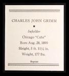 1933 Tattoo Orbit Reprints #22  Charlie Grimm  Back Thumbnail