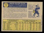 1970 O-Pee-Chee #31  Marty Pattin  Back Thumbnail