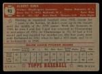 1952 Topps #93  Al Sima  Back Thumbnail