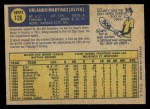 1970 O-Pee-Chee #126  Marty Martinez  Back Thumbnail