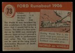 1954 Topps World on Wheels #73   Ford Runabout 1906 Back Thumbnail