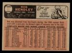 1966 O-Pee-Chee #82  Bob Hendley  Back Thumbnail