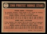 1966 O-Pee-Chee #123   -  Frank Bork / Jerry May Pirates Rookies Back Thumbnail