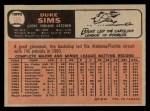 1966 O-Pee-Chee #169  Duke Sims  Back Thumbnail