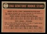 1966 O-Pee-Chee #11   -  Brant Alyea / Pete Craig Senators Rookies Back Thumbnail