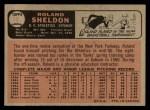 1966 O-Pee-Chee #18  Roland Sheldon  Back Thumbnail