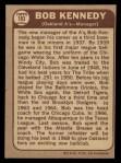 1968 O-Pee-Chee #183  Bob Kennedy  Back Thumbnail