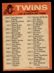 1973 O-Pee-Chee Blue Team Checklist #14   Twins Team Checklist Back Thumbnail