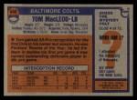 1976 Topps #440  Tom MacLeod   Back Thumbnail