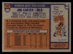 1976 Topps #141  Jim Carter  Back Thumbnail