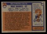 1976 Topps #53  Mike Barnes   Back Thumbnail