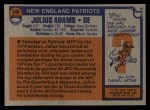 1976 Topps #348  Julius Adams  Back Thumbnail