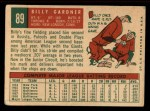 1959 Topps #89  Billy Gardner  Back Thumbnail