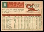 1959 Topps #11  Billy Hunter  Back Thumbnail