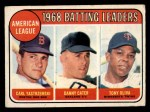 1969 O-Pee-Chee #1   -  Carl Yastrzemski / Danny Cater / Tony Oliva AL Batting Leaders Front Thumbnail