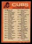 1973 O-Pee-Chee Blue Team Checklist #5   Cubs Team Checklist Back Thumbnail