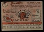 1958 Topps #84  Billy O'Dell  Back Thumbnail