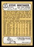 1968 Topps #383  Steve Whitaker  Back Thumbnail