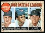 1968 Topps #2   -  Al Kaline / Frank Robinson / Carl Yastrzemski AL Batting Leaders Front Thumbnail