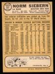 1968 Topps #537  Norm Siebern  Back Thumbnail