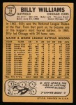 1968 Topps #37  Billy Williams  Back Thumbnail