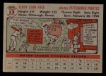1956 Topps #13  Roy Face  Back Thumbnail