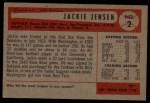 1954 Bowman #2  Jackie Jensen  Back Thumbnail