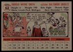 1956 Topps #62  Hal W. Smith  Back Thumbnail