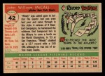 1955 Topps #42  Windy McCall  Back Thumbnail
