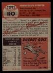 1953 Topps #110  Herm Wehmeier  Back Thumbnail