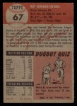 1953 Topps #67  Roy Sievers  Back Thumbnail