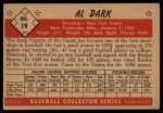 1953 Bowman #19  Al Dark  Back Thumbnail