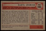 1954 Bowman #185 COR Daryl Spencer  Back Thumbnail