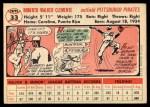 1956 Topps #33  Roberto Clemente  Back Thumbnail