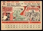 1956 Topps #31  Hank Aaron  Back Thumbnail