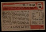 1954 Bowman #35 ERROR Eddie Joost  Back Thumbnail