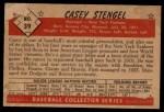 1953 Bowman Black and White #39  Casey Stengel  Back Thumbnail