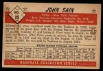 1953 Bowman Black and White #25  Johnny Sain  Back Thumbnail